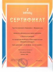 Сертификат золотого дилера Infinity